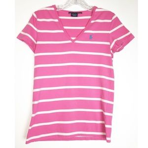Ralph Lauren Sport Pink & White Stripe Top